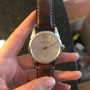 Hamilton watch with brown band